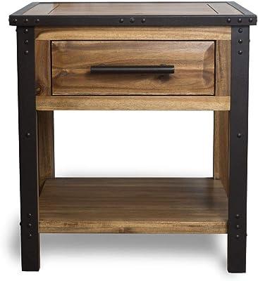 Christopher Knight Home Glendora Table De Chevet Industrielle En Bois Massif Avec Tiroir Marron Amazon Ca Maison Et Cuisine