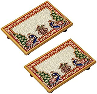 HANDICRAFTS PARADISE Marble Puja Chowki Pair Rectangle Shape with Peacock Design and Kalash