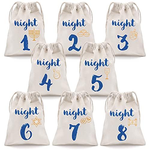 8 Nights of Hanukkah Gift Bags Hanukkah Countdown Calendar Chanukah Drawstring Burlap Bags Festival of Lights Linen Treat Goodie Bags for Kids Hanukkah Party Favor(8 Pack)