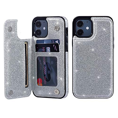 UEEBAI Case for iPhone 12 iPhone 12 Pro 6.1 inch, Premium Glitter PU Leather Case Back Wallet Cover [Two Magnetic Clasp] [Card Slots] Stand Function Durable Shockproof Soft TPU Case - Silver
