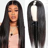 UNice Hair U Part Human Hair Wigs Straight Hair Middle Part Wig for Black Women, Brazilian Virgin Hair Glueless U Shape Clips in Half Wig 150% Density 16inch