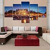 Paisaje de vista de edificio de Amsterdam/ 5 Piezas Impresiones en Lienzo Impresión Lienzo Artística Dormitorios Modernos Decoración de pared Cuadros XXL Pintura modular - Ancho: 150Cm, Altura: 80Cm