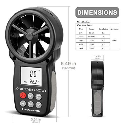 Medidor de Velocidad del Viento con Anemómetro Digital de Mano,Anemómetro...