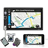 """Double Din Car Stereo 7"""" Touch Screen Car Radio with Bluetooth Backup Camera FM Radio USB AUX TF Card Input Audio Video MP5 MP4 MP3 Player Car Multimedia Player Support Mirror Link by Carmektron"""