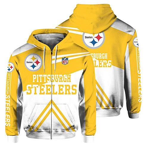 QWEIAS Sudadera con Capucha para Hombre - NFL Pittsburgh Steelers Fans Casual Unisex Zipper Sweater Pullover Impresión 3D Primavera Otoño Chaquetas de Manga Larga XXXXXL