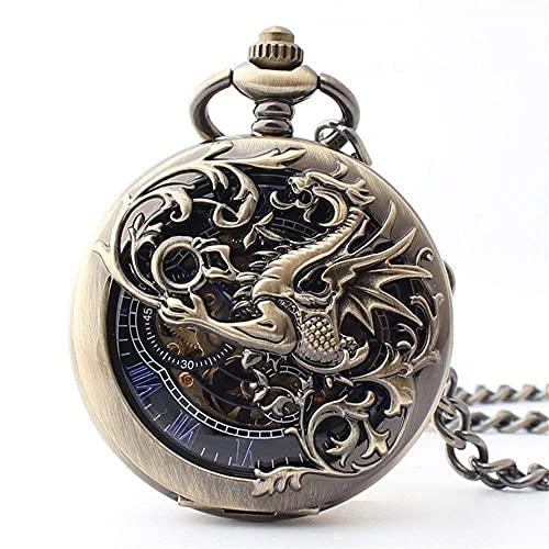 MQJ Reloj de Bolsillo Mecánico Antiguo Amp Del Dragón Afortunado; Dial de Esqueleto Negro de Phoenix Nombres Romanos con Cadena