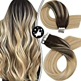Moresoo Tape in Extensions Human Hair 22 Inch Invisible Tape in Hair Extensions Balayage Brown to Caramel Blonde Mixed Bleach Blonde Human Hair Extensions Glue in Straight Natural Hair