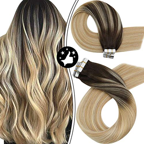 Moresoo Tape in Hair Extensions Human Hair 18 Inch Balayage Tape in Hair Extensions Invisible PU Tape in Hair #2 Brown to #27 Caramel Blonde Mixed #613 Bleach Blonde Natural Hair Extensions