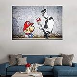 wojinbao Nessuna Cornice Banksy Graffiti Mario And The Cop Stampe su Tela ngs Wall Art Picture Poster Decorazione della casa per Soggiorno 40x60cm