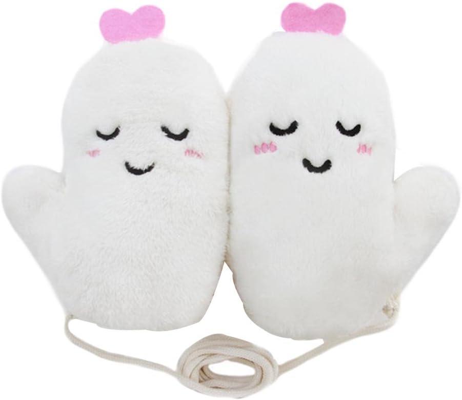 Panda Legends Cute Winter Warm Gloves Women Gloves Plush Mittens White Halter Gloves