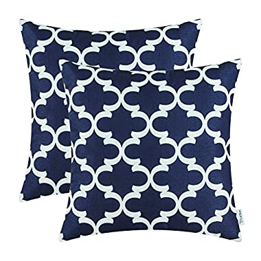 Pack of 2 CaliTime Throw Pillow Covers Cases for Couch Sofa Home Decor, Modern Quatrefoil Accent Geometric, 18 X 18 Inches, Navy Blue