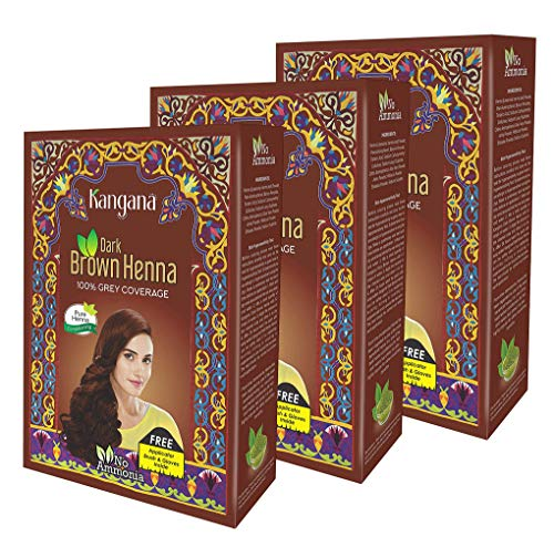 Kangana Henna Powder for Hair Dye   Colour - Dark Brown Henna Powder for 100% Grey Coverage- 6 pouches each - Total 180g (6.34 Oz)- Pack of 3