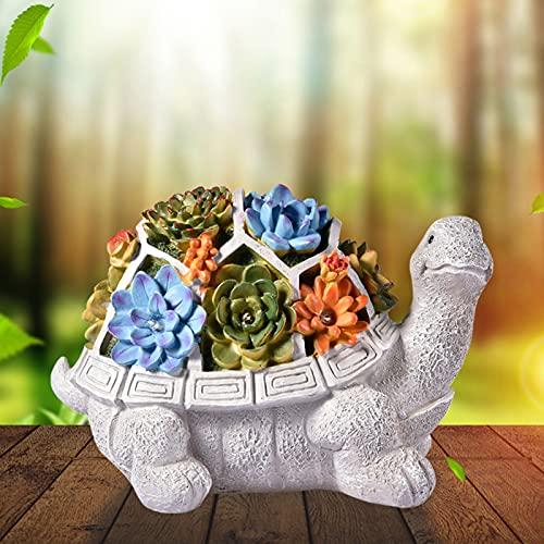 FUFRE Figura decorativa de tortuga de jardín con energía solar, lámpara LED de jardín con resina resistente al agua, para balcón o jardín