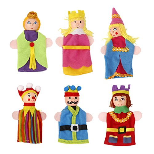 6pcs Juguete Marionetas de Mano Títeres de Dedo Figuras de Rey Reina Cabeza de Madera
