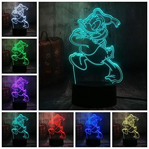 Leuke Donald Funer Roy Duck cartoon 7 kleuren veranderende 3D LED nachtlampje kinderslaap bureaulamp verjaardagscadeau decoratie