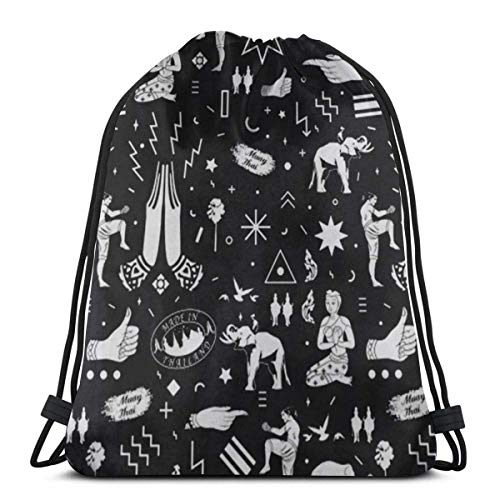 XCNGG Bolsa con cordón Bolsa con cordón Bolsa portátil Bolsa de Gimnasio Bolsa de Compras Muay Thai Flying Knee Thailand Packable Sport Gym Drawstring Sackpack Backpack Bag For Men,Women 17X14 Inch