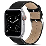 Marge Plus Compatible with Apple Watch Band 44mm 42mm 40mm 38mm, Genuine Leather Replacement Band for iWatch Series 6 5 4 3 2 1, SE (Black/Silver, 40mm/38mm)