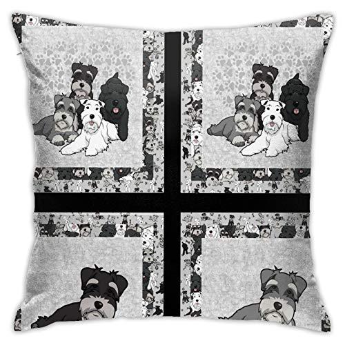 longdai Schnauzer - Funda de cojín con paneles de tramposo, funda de almohada decorativa para el hogar, sala de estar, dormitorio, sofá, silla, 45 x 45 cm