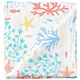 Cheekie Monkie 100% Cotton Muslin Baby Newborn Infant Swaddle Wrap Blanket / Receiving Blanket - Coral Print for Boys and Girls