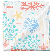Cheekie Monkie 100% Cotton Muslin Baby Newborn Infant Swaddle Wrap Blanket/Receiving Blanket - Coral Print for Boys and Girls