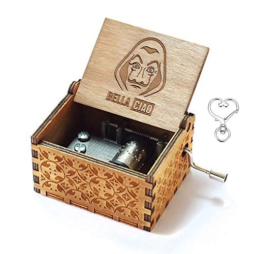 Cuzit The Paper House Spieluhr, Bella Ciao, Spieluhr, 18 Noten, antike Geschnitzte Spieluhr, tolles Geschenk für Kinder, Freunde