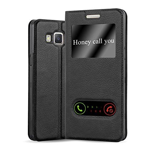 Cadorabo Hülle für Samsung Galaxy A5 2015 (5) - Hülle in KOMETEN SCHWARZ – Handyhülle im Standfunktion und 2 Fenstern (View Design) - Case Cover Schutzhülle Etui Tasche Book Klapp Style