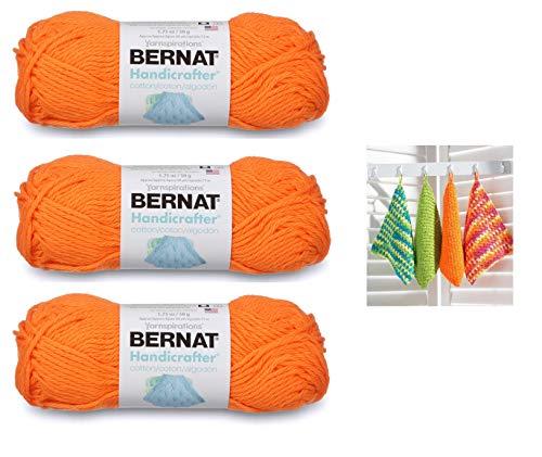 Bernat Handicrafter Cotton Solids Yarn, 1.75 oz, Gauge 4 Medium, 100% Cotton, Hot Orange 3-Pack with Dishcloth Color Pattern