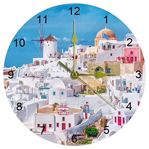 EZIOLY Wanduhr, griechisch, weiß, Architektur, 25,4 cm, leise, nicht tickend, Quarz, batteriebetrieben, runde Wanduhren für Zuhause/Büro/Schule, Uhr