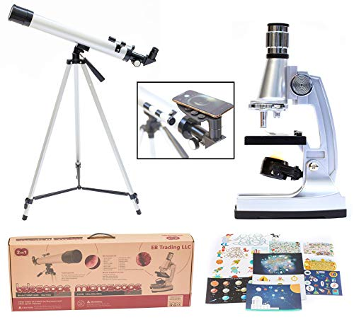 EB Science Kid's Explorer Telescope + Microscope 2in1 Gift Kit w Eco Carry Case | Children & Astronomy Beginner | Compass | Science Education | (42 - Piece Accessory Set + Smart Phone Adopter)