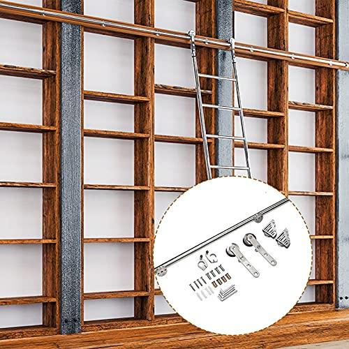 Riel de puerta de granero corrediza acero inoxidable, juego completo hardware, soporte , tubo redondo, kit riel escalera móvil para biblioteca /loft/hogar/interior/librería (6.6ft-13ft) (sin escalera)