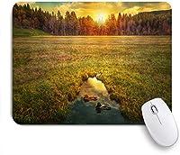 MISCERY マウスパッド 自然の風景サンセットフォレストグリーンメドーアヒル 高級感 おしゃれ 防水 端ステッチ 耐久性が良い 滑らかな表面 滑り止めゴム底 24cmx20cm
