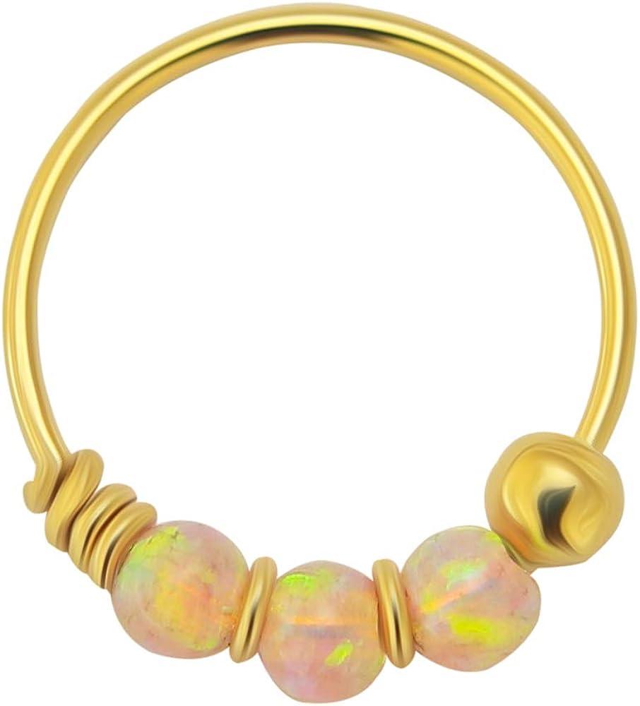 14K Yellow Gold Triple Opal Bead 22 Gauge Hoop Nose Ring Nose Piercing