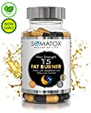 T5 FAT BURNER - Natural Weight Loss • Burn Fat • Slimming Diet Pills • Boost Energy • Thermogenic Supplement ? Max Strength 1300mg / 90 Veg Caps 30 Day Supply ? Made In UK by SOMATOX (FREE eBOOK) by Somatox