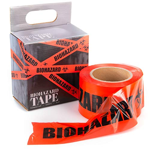 Biohazard Caution Tape, 1000ft - Halloween Decoration for Haunted Houses, Quarantine Scenes, Yard Decor, Medical Safety, Halloween Parties, Warning Signs