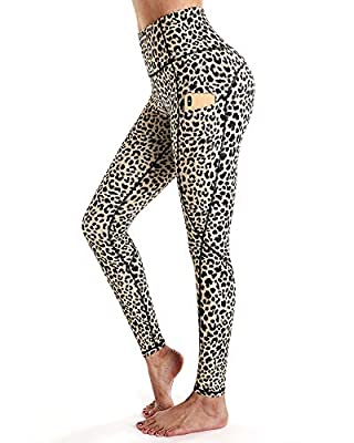 STYLEWORD Women's Leopard Pattern Print Yoga Pants High Waist Full-Length Leggings with Pocket(Leopard-084A,XXL)