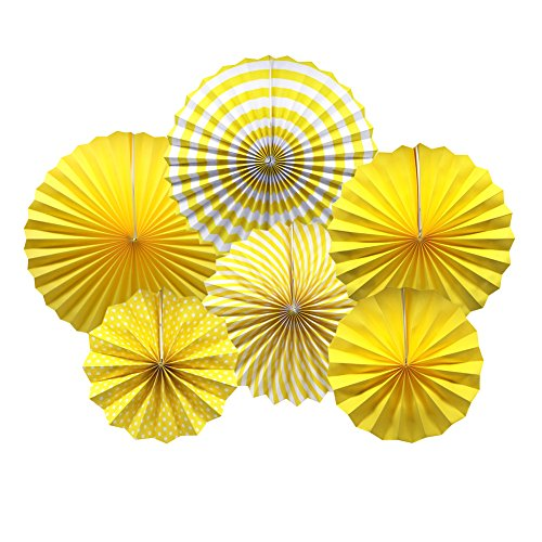 ADLKGG Party Hanging Paper Fans Set, Yellow Round Pattern Paper Garlands Decoration for Birthday Wedding Graduation Events Accessories, Set of 6