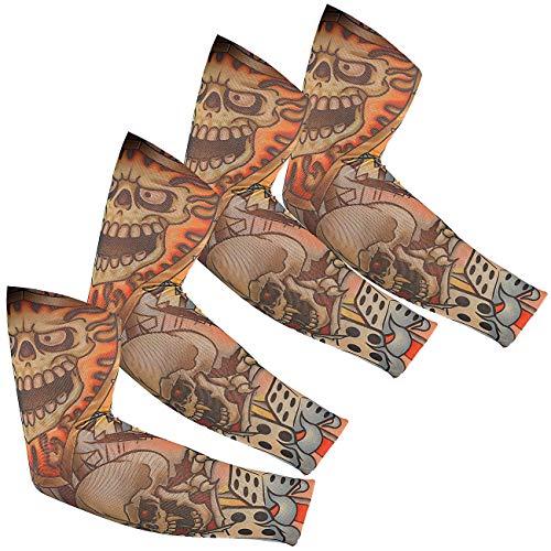 infactory Tattoo-Armstulpe: 4er-Set Tattoo-Armlinge Skull (Tattoo-Sleeve)