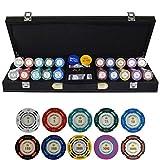 TX GIRL Texas Hold'em Poker Chips Conjunto con PU-Maleta De Cuero Y Manteles Dólar Ficha De Póker De La Arcilla Fichas De Casino 200/300 / 400 / 500PCS / Set (Color : 500pcs Leather)