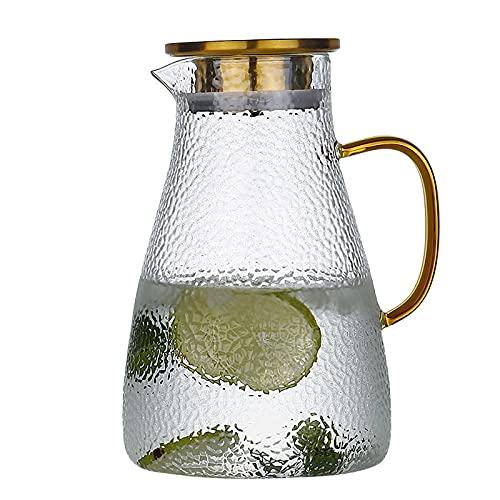 ZTSS Jarra de Vidrio con Tapa de Acero Inoxidable, 1.5 litros Jarra de Nevera Jarra Jarra de Acero Inoxidable 304 con Filtro Agua fría Caliente Vino Café Leche Té Jugo Botella de Bebida