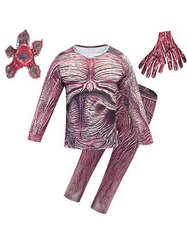 Disfraz Stranger Things para Niños, Demogorgon Halloween Flor Caníbal Cosplay Set Adultos Niña Disfraz de Terror Traje con Máscara Stranger Things Costume Monos