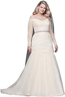 0ec23907c54 David s Bridal Long Sleeve Off-Shoulder Plus Size Wedding Dress Style  9WG3943