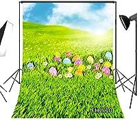 写真のための新しい春のイースターの背景5x7ftカラフルな卵の日当たりの良い草原の緑の草の写真の背景子供のための子供赤ちゃん大人の肖像画のビニールのカスタマイズされたスタジオの小道具710