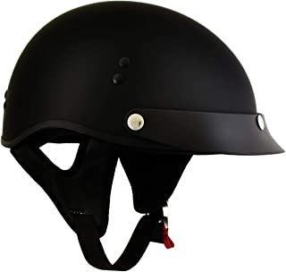 Outlaw T70 'Stealth' DOT Solid Flat Black Half Motorcycle Helmet - 2X-Large