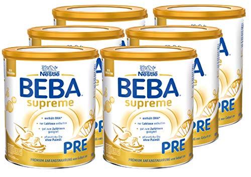 Nestlé BEBA SUPREME PRE Anfangsnahrung: von Geburt an, Pulver, mit Omega 3, 6er Pack (6 x 800g)