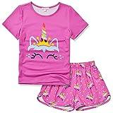 Girls Unicorn Pjs Red Pajama Sets Short Sleeve Summer Cotton Sleepwear Size 6 7