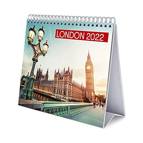 Calendario escritorio Deluxe 2022 Londres - Calendario 2022 sobremesa - Calendario 2022 ciudades │ Calendario Londres - Calendario mesa 2022 - Calendario anual - Calendario oficina