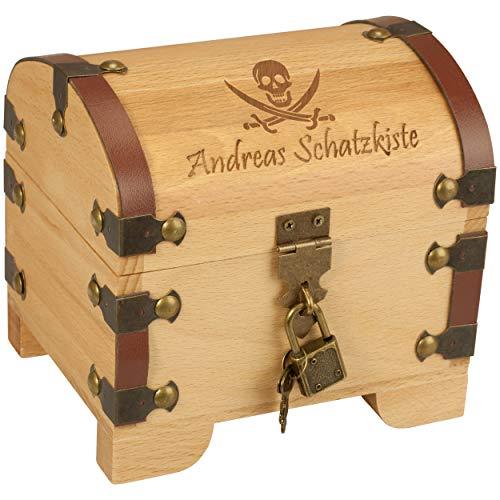 Geschenke 24: Schatztruhe Pirat mit Gravur - personalisierte Piraten-Schatzkiste für Kinder zum Geburtstag für Geld - EIN originelles Geldgeschenk als Geburtstagsgeschenk