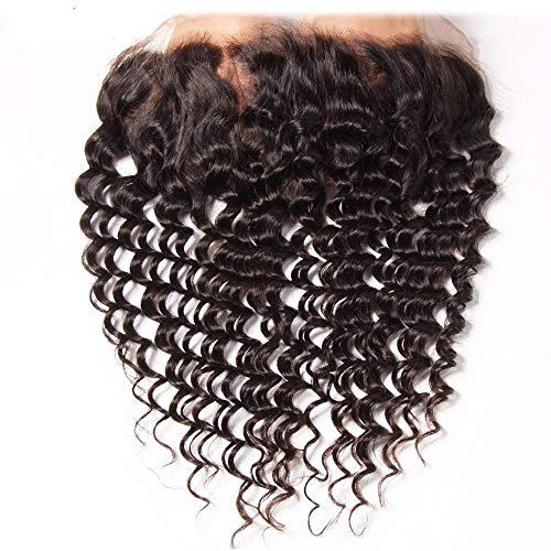 Dinoce Compatible with Longqi Brazilian Curly Hair Lace Frontal Ear to Ear Remy Human Hair Jerry Curly Virgin Hair 13x4 Free Part Frontal Closure Natural Color 12 Inch
