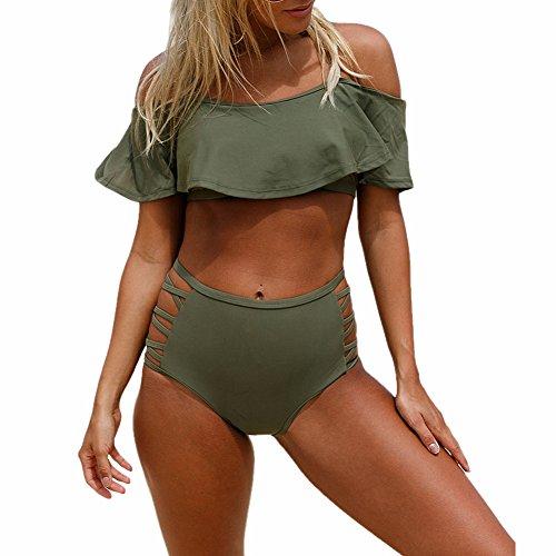 Addfect Damen Bandeau Bikini Set mit High Waist Slip Vintage Volant High Cut Gepolstert Bondage Strandmode (EU 40-42 (2XL), Armee-Grün)
