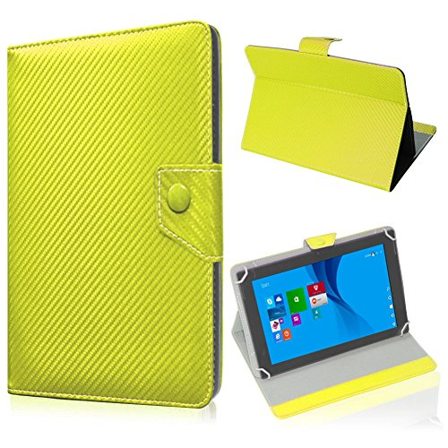 UC-Express Schutz Tablet Tasche Jay Tech CANOX Tablet PC 101 Hülle Schutzhülle Carbon Case, Farben:Gelb